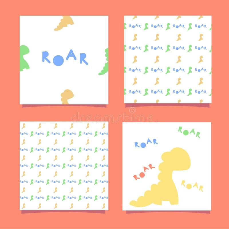 滑稽的黄色恐龙 一个无缝的样式迪诺和题字吼声 也corel凹道例证向量 向量例证