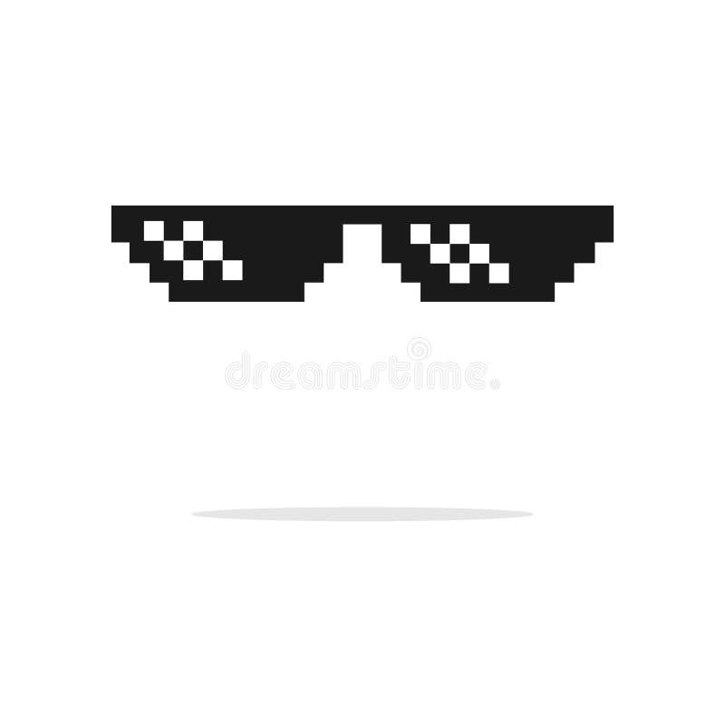 滑稽的pixelated上司太阳镜 匪徒、恶棍玻璃和雪茄集合 玻璃映象点和香烟8bit的例证 库存例证
