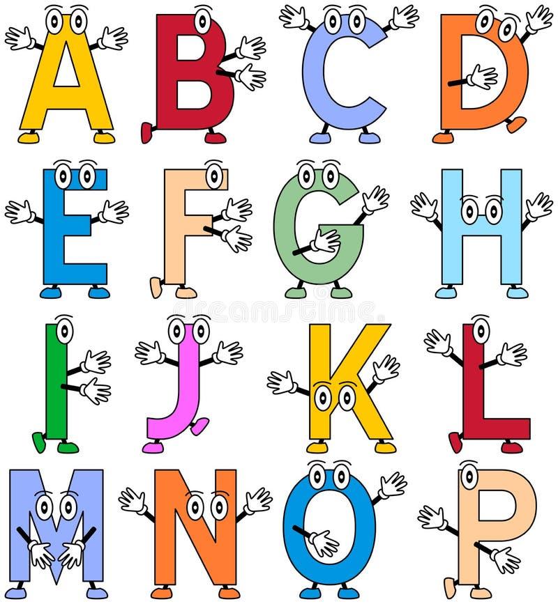 滑稽1部字母表的动画片 向量例证