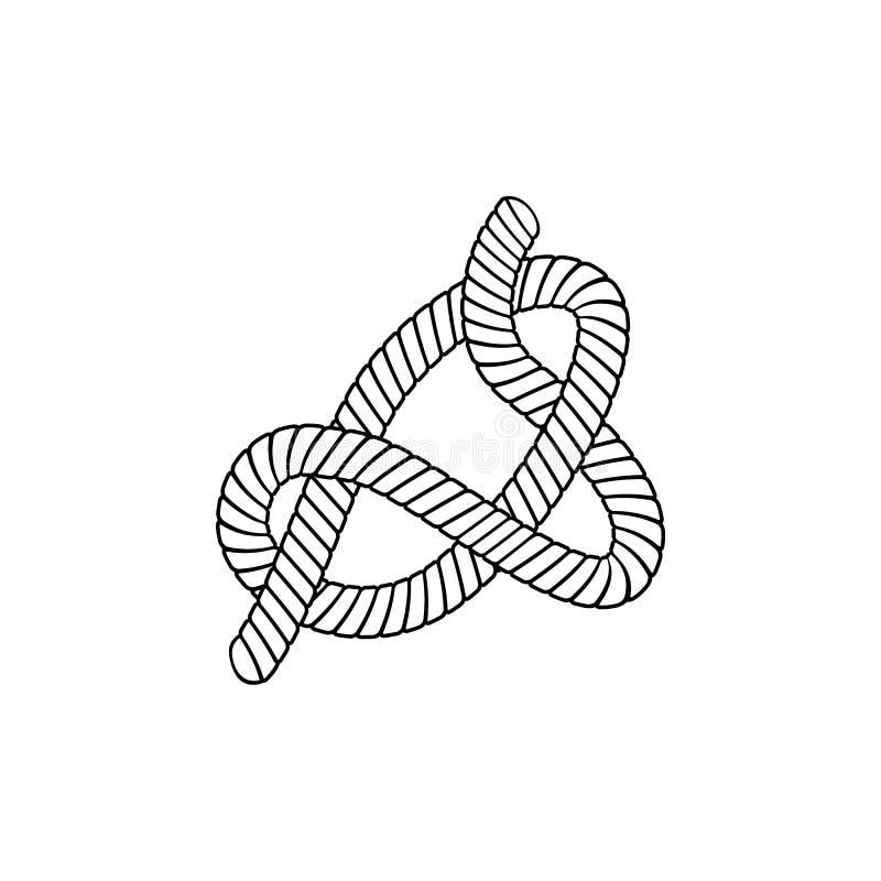 滑结乐团由在概述剪影样式的扭转的绳索做了 库存例证