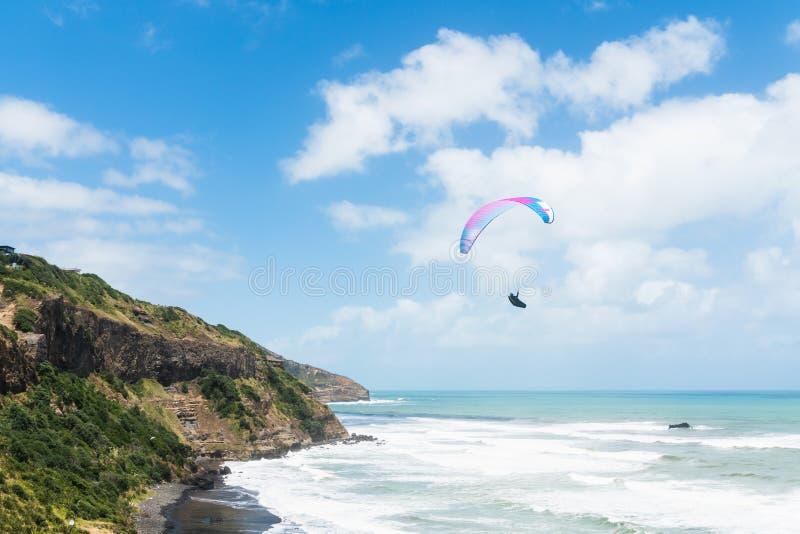 滑翔伞,体育,假期,娱乐活动 Muriwai海滩壮观的看法, 免版税库存照片