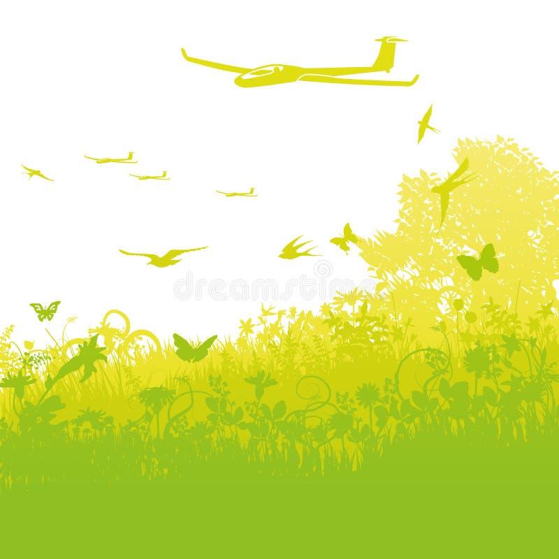 滑翔机飞行在天空中 皇族释放例证