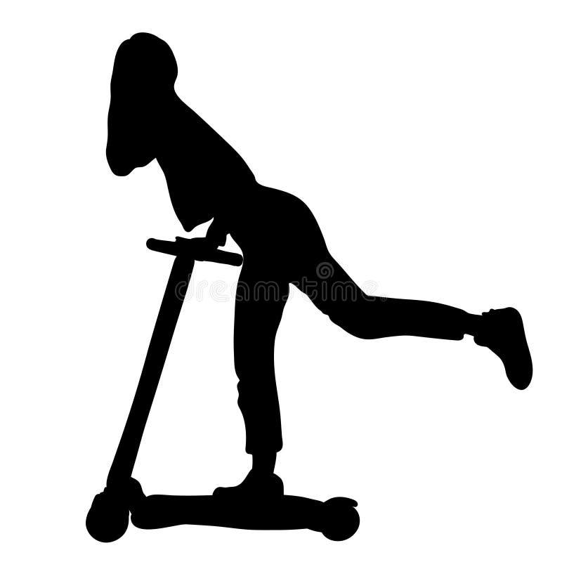 滑行车剪影的,外形图,等高剪影,象女孩,导航黑白例证 美丽的亭亭玉立的妇女与 向量例证