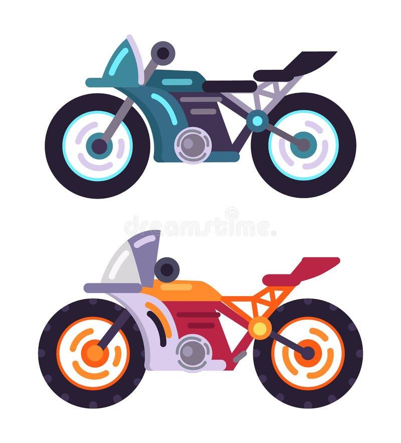 滑行车动力化了被设置的现代摩托车模型 库存例证