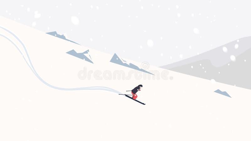 滑雪下坡在与降雪的高山的滑雪者 向量例证