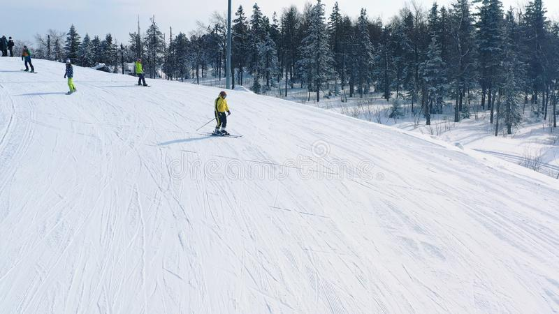 滑雪倾斜特写镜头和人滑雪和雪板运动在滑雪轨道在具球果森林附近在冬天 r ?? 库存图片