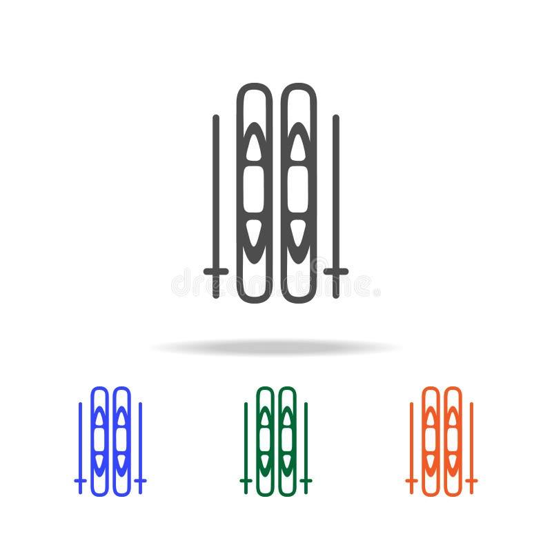 滑雪和棍子象 圣诞节假日的元素在多色的象的 优质质量图形设计象 简单的图标 库存例证
