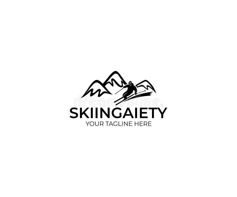 滑雪商标模板 山和滑雪者传染媒介设计 向量例证