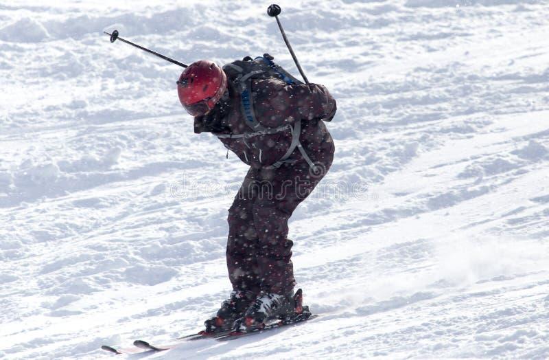 滑雪在雪的人们 库存照片