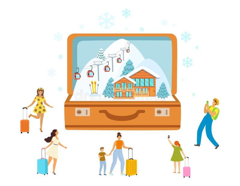 滑雪场、旅行、旅游业带着开放手提箱和微型人民,现代平的样式 r 向量例证