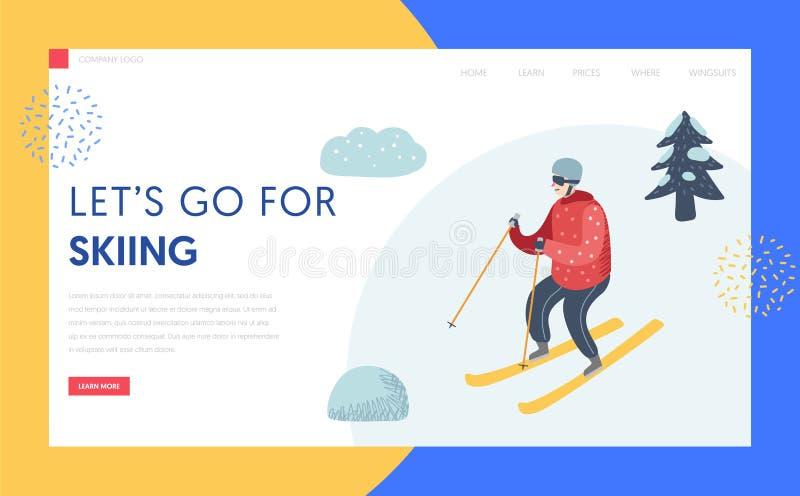 滑雪场登陆页模板的寒假 皇族释放例证