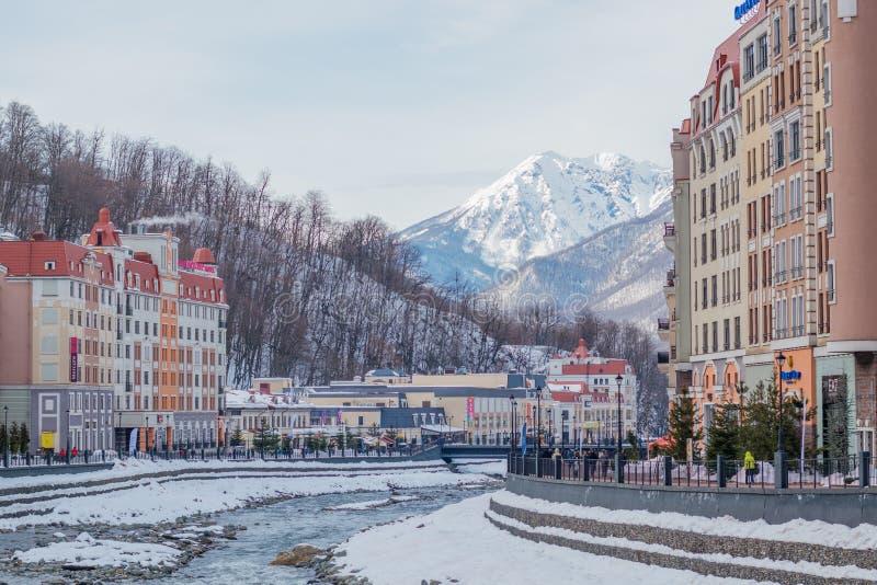 滑雪场罗莎Khutor 姆济姆塔河 r 库存图片