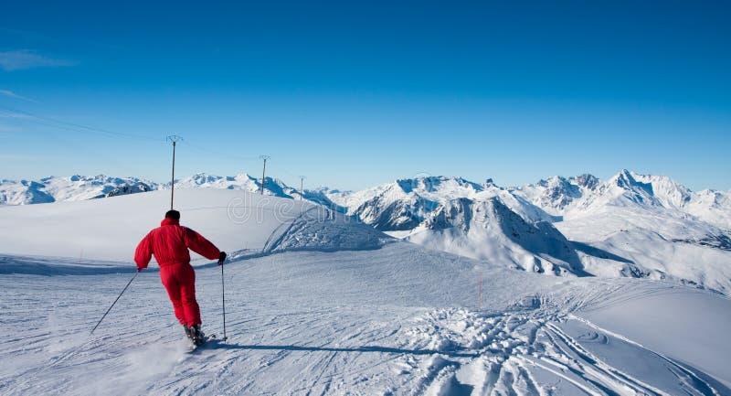 滑雪滑雪者倾斜 库存照片