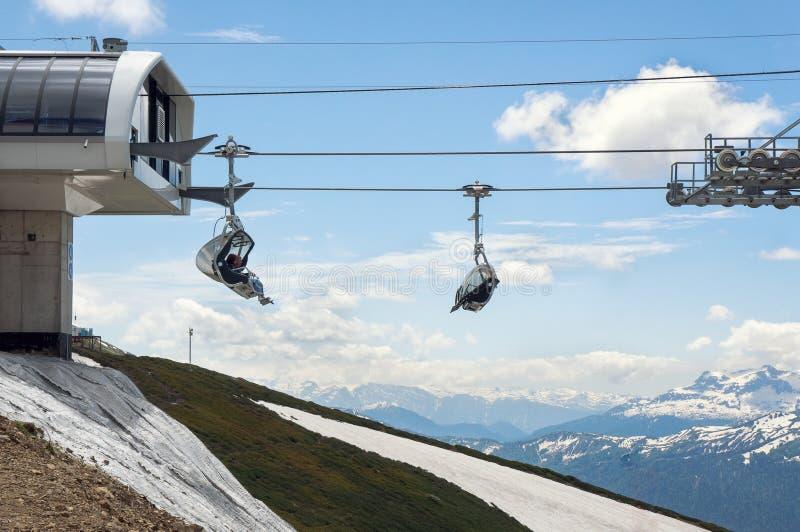 滑雪电缆车的游人 库存图片
