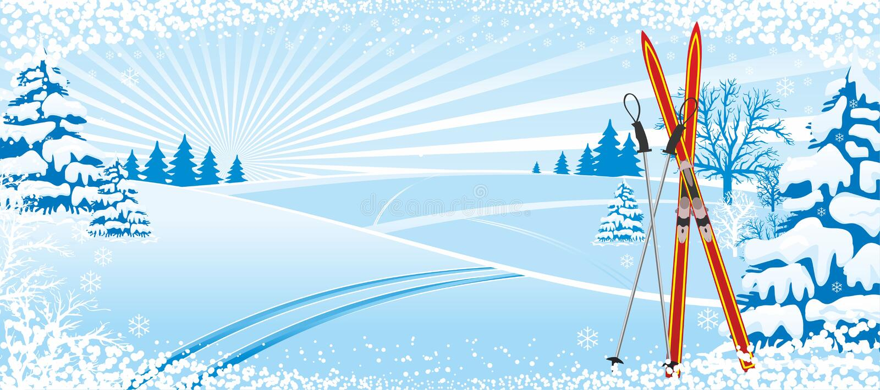 滑雪的冬天背景 向量例证