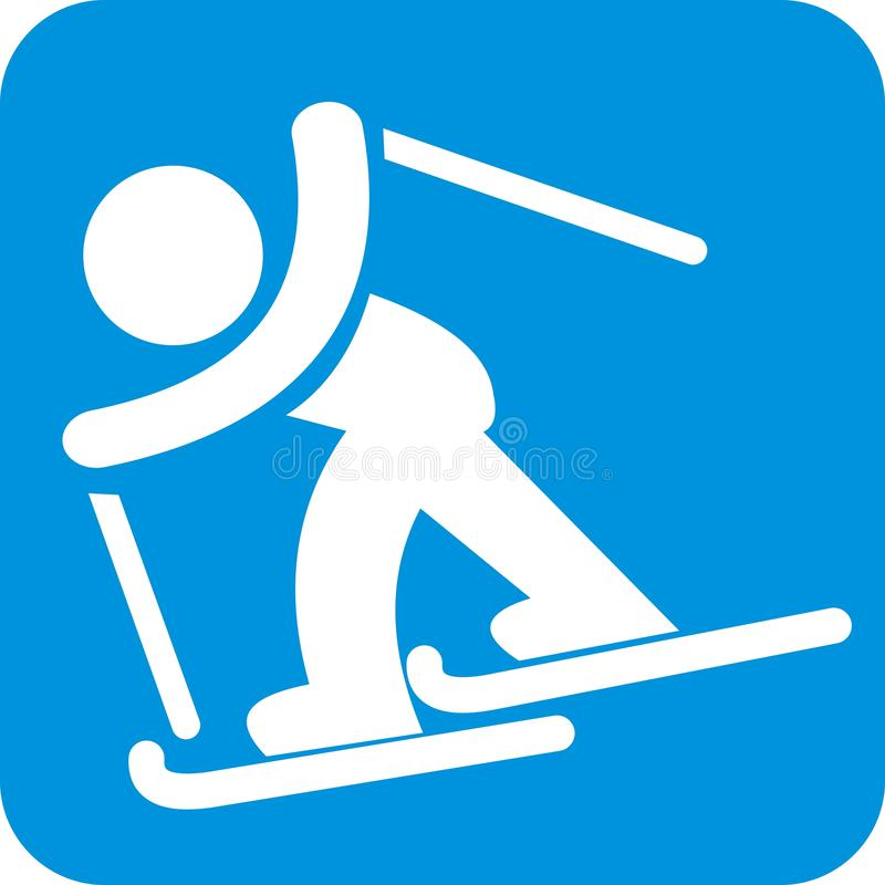 滑雪者、婴孩和滑雪,蓝色框架 向量例证