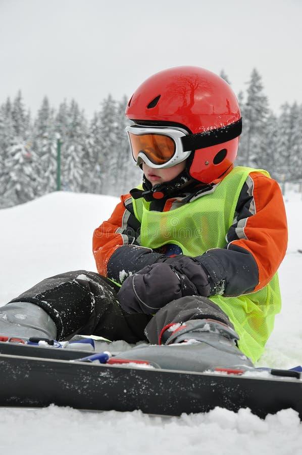 滑雪者年轻人 库存图片