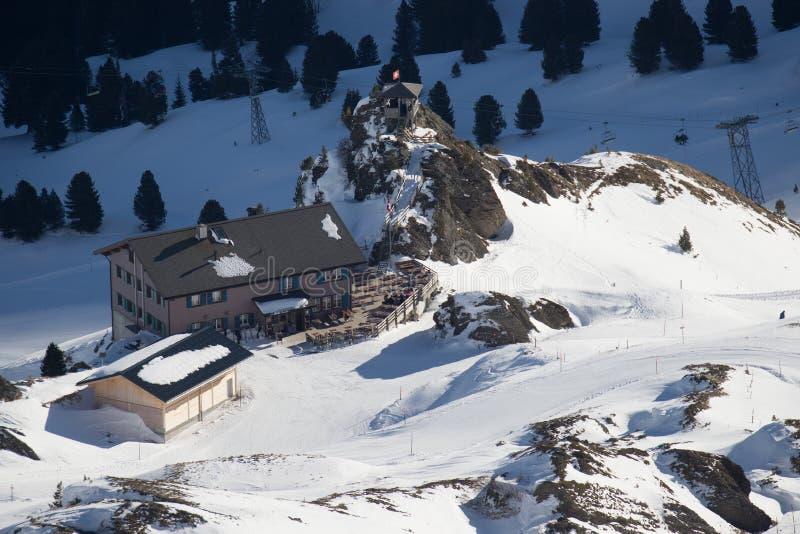 滑雪胜地少女峰文根的看法 免版税库存照片