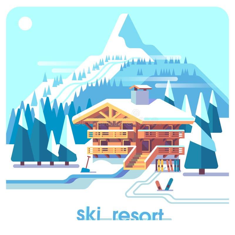 滑雪胜地山详述了与小屋和滑雪轨道的风景 冬季体育假期 平的例证背景 皇族释放例证