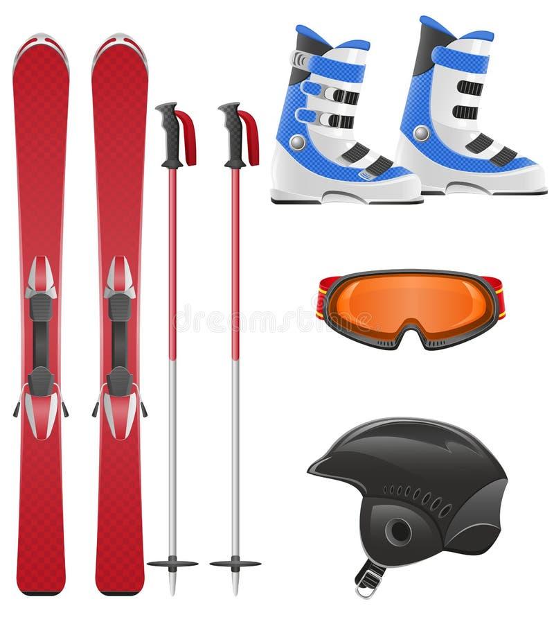 滑雪设备图标集合向量例证 库存例证