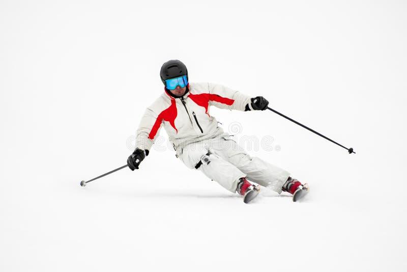 滑雪道的滑雪者在山 免版税库存图片