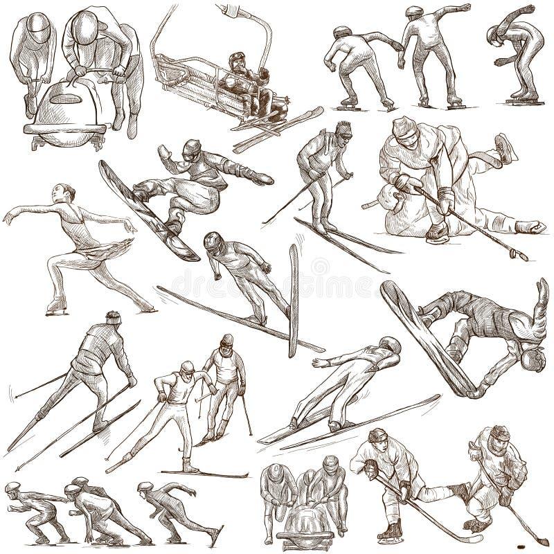 滑雪雪体育运动跟踪冬天 一个手拉的大型组装 在whi的手图画 库存例证