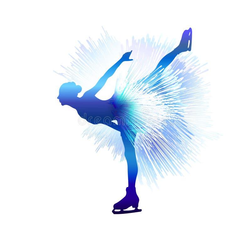 滑雪雪体育运动跟踪冬天 图夫人滑冰 也corel凹道例证向量 库存例证