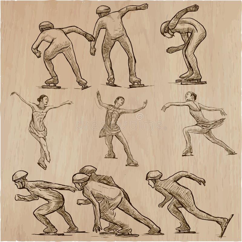 滑雪雪体育运动跟踪冬天 速滑和花样滑冰 手拉的ve 向量例证