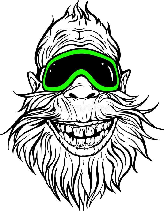 滑雪风镜的微笑的雪人 皇族释放例证
