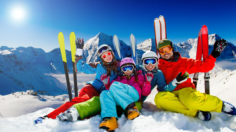 滑雪,冬天乐趣 免版税库存照片
