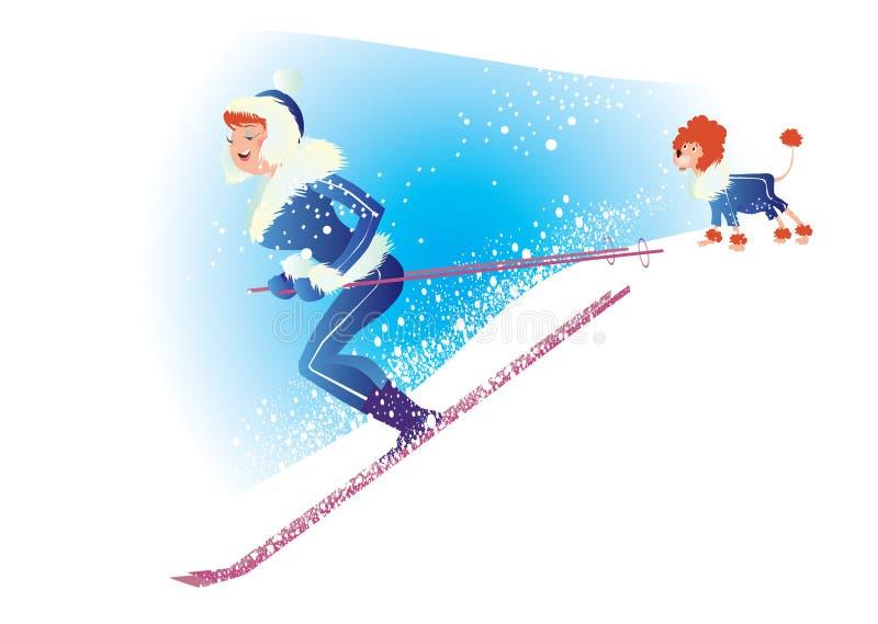 滑雪 皇族释放例证