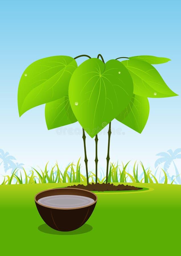 滚保龄球其汁液kava工厂服务的木头 向量例证