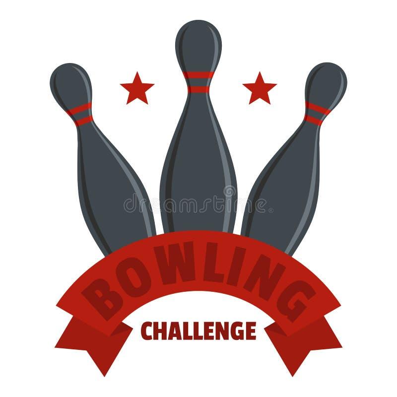 滚保龄球的挑战商标,平的样式 库存例证