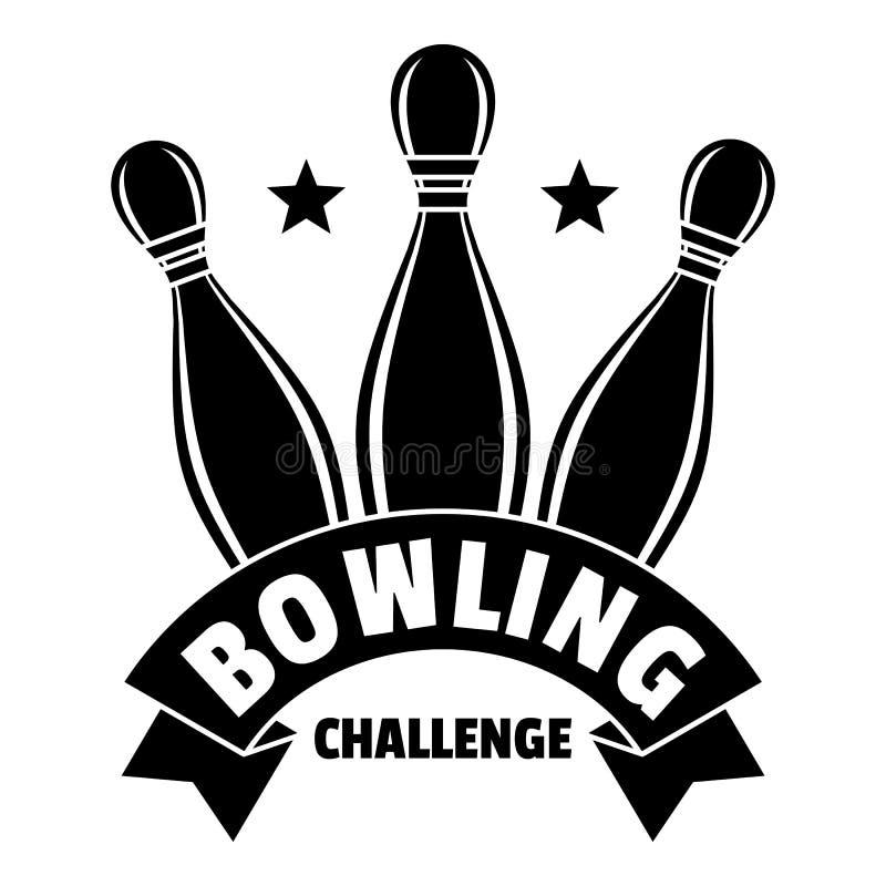 滚保龄球的挑战商标,简单的样式 库存例证