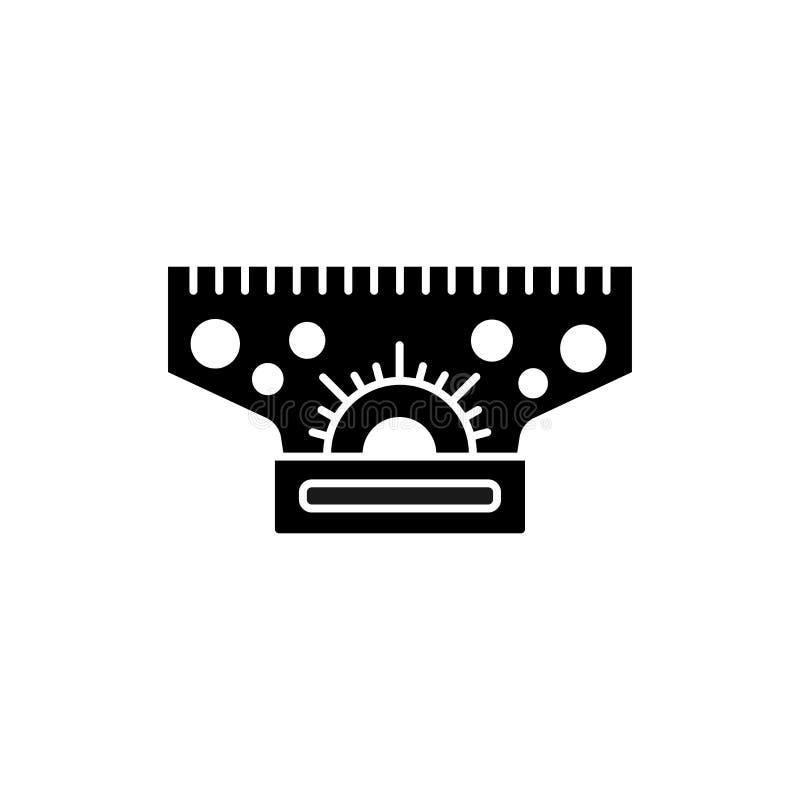 滚动与分度器,圈子形状的平行线尺的黑&白色传染媒介例证 仪器平的象为建筑师的 向量例证