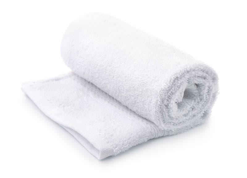 滚动白色特里毛巾 免版税库存图片