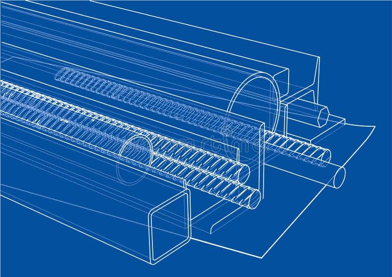 滚动的金属制品 向量 库存例证