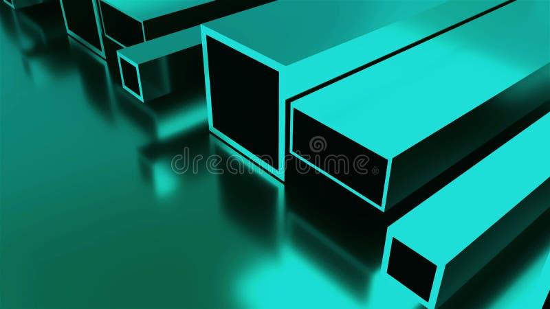 滚动的金属工业背景,3d回报有发光的金属片,形状的管 向量例证