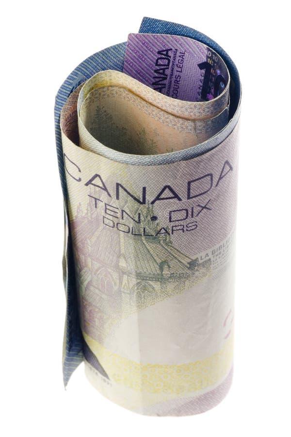 滚的加拿大货币 免版税图库摄影