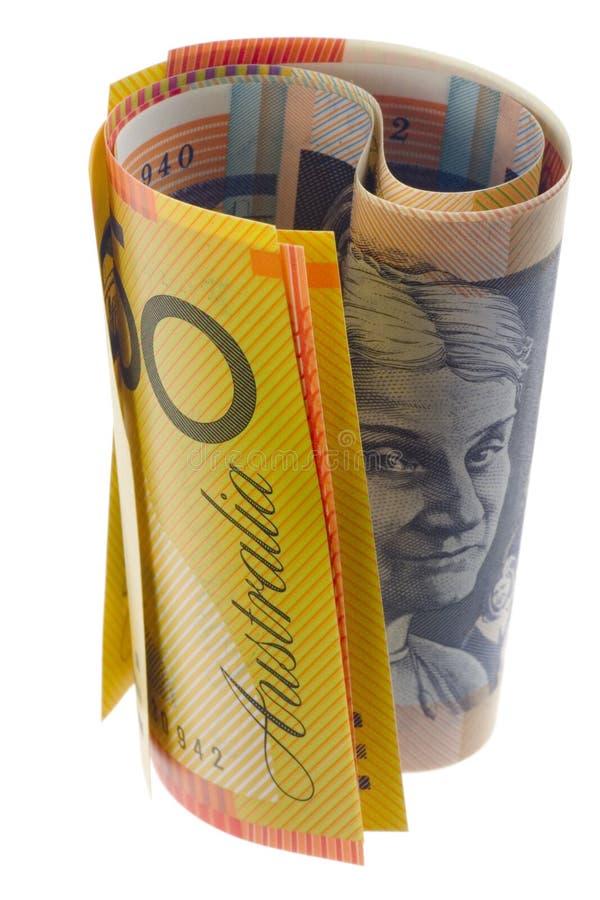 滚的澳大利亚货币 库存照片