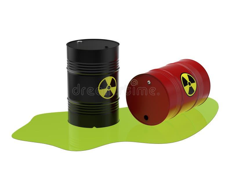 滚磨与废物,铀, 3D例证 向量例证