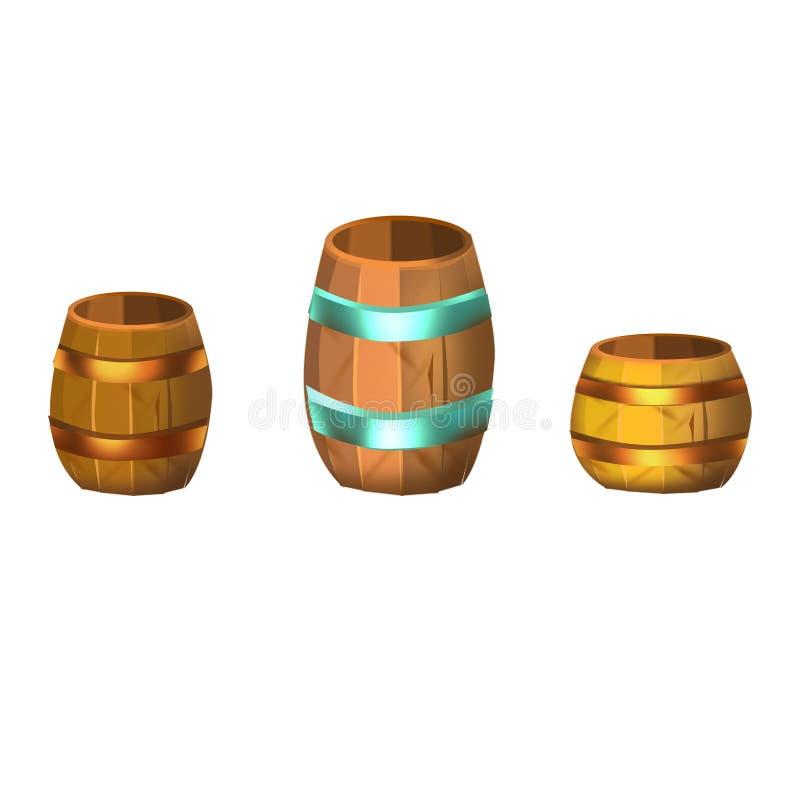 滚磨木 动画片 硬币的桶 向量 向量例证