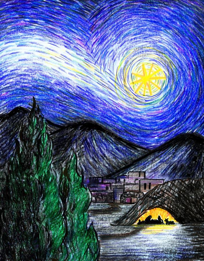 满天星斗伯利恒的晚上 库存例证