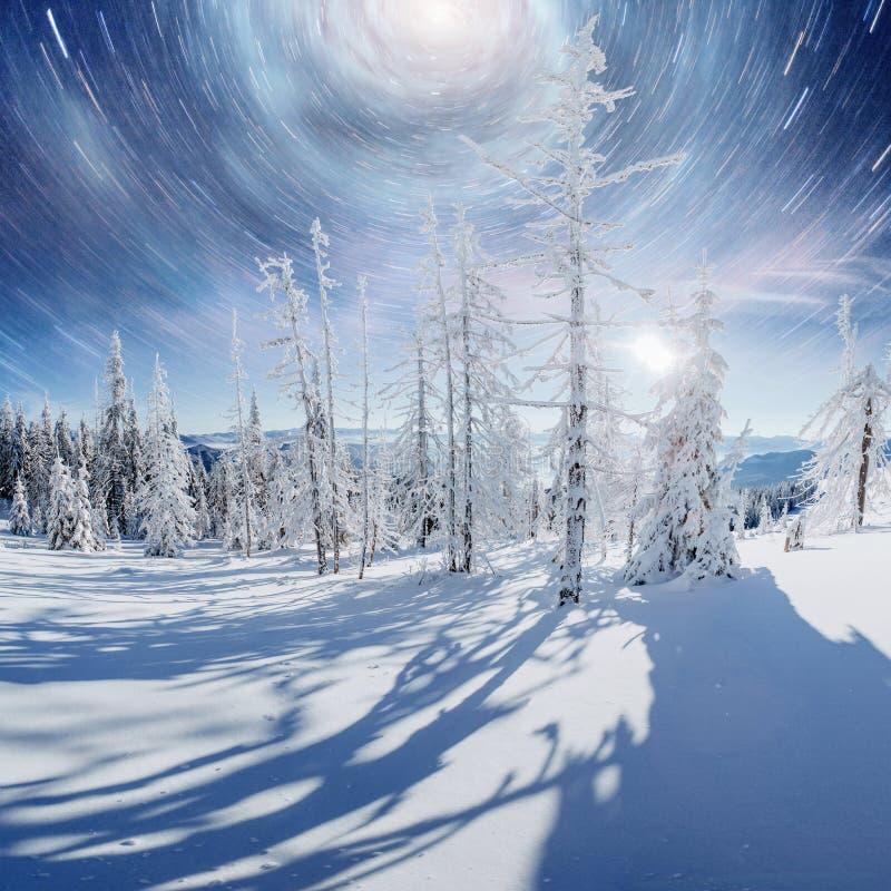 满天星斗的天空在冬天多雪的夜 在新年` s伊芙的意想不到的银河 美国航空航天局礼貌  预期 库存照片