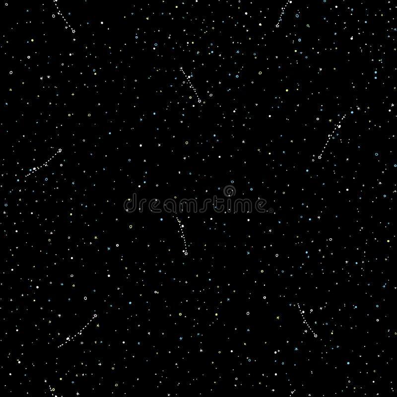 满天星斗的天空手凹道无缝的样式、乱画圆环和十字架在星系和星样式-不尽的背景与 向量例证