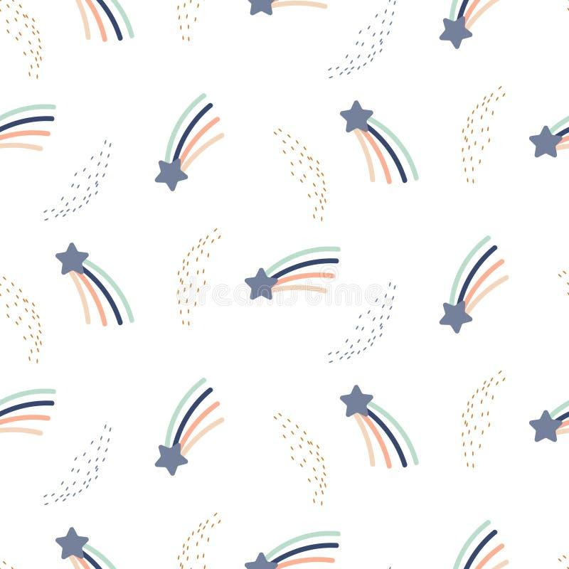 满天星斗的彗星空间逗人喜爱的无缝的传染媒介样式 印刷品的婴孩床亚麻制重复背景 库存例证