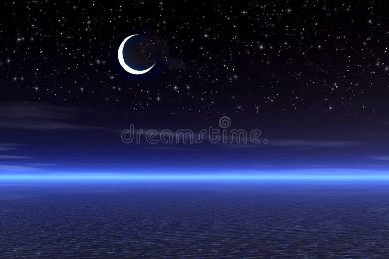 满天星斗的晚上 向量例证