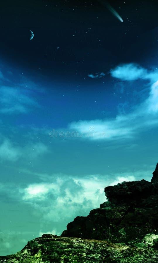 满天星斗背景晚上岩石的天空 向量例证
