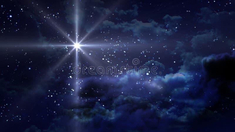 满天星斗蓝色的晚上 库存例证