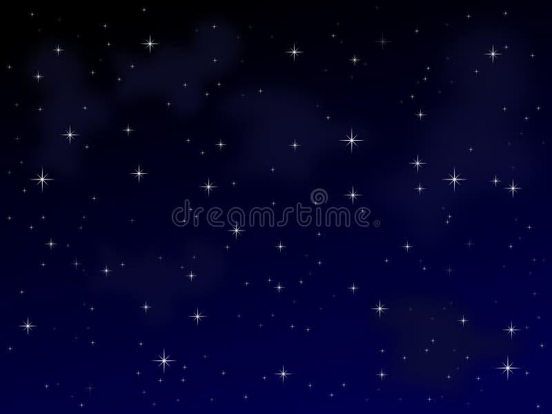 满天星斗1个的晚上 向量例证